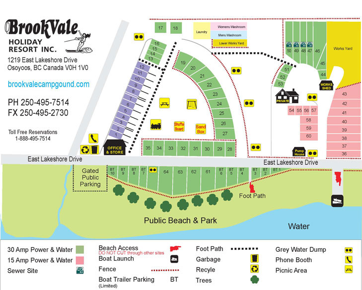 Osoyoos Camping - Map | Brookvale Campground & RV